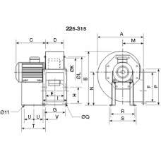 CHMT/6- 315/130 1,1kw Centrifugal fan 400 degrees