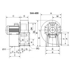 CHMT/4- 400/165-4 Centrifugal fan 400 degrees