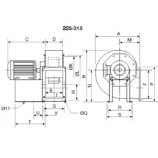 CHMT/4- 250/100-1,1 Centrifugal fan 400 degrees